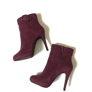 Vegan Suede High Heel Platform Ankle Booties Sz 9